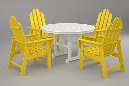 POLYWOOD PWS107 1 LE Long Island 5 Pc. Dining Set, Lemon