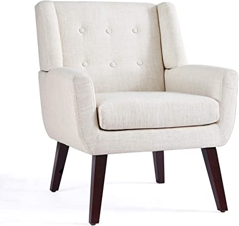 Amazon Com Huimo Accent Chair Upholstered Button Tufted Armchair Linen Fabric Sofa Chairs For Bedroom Living Room Mid Century Modern Comfy Reading Chair Beige Kitchen Dining