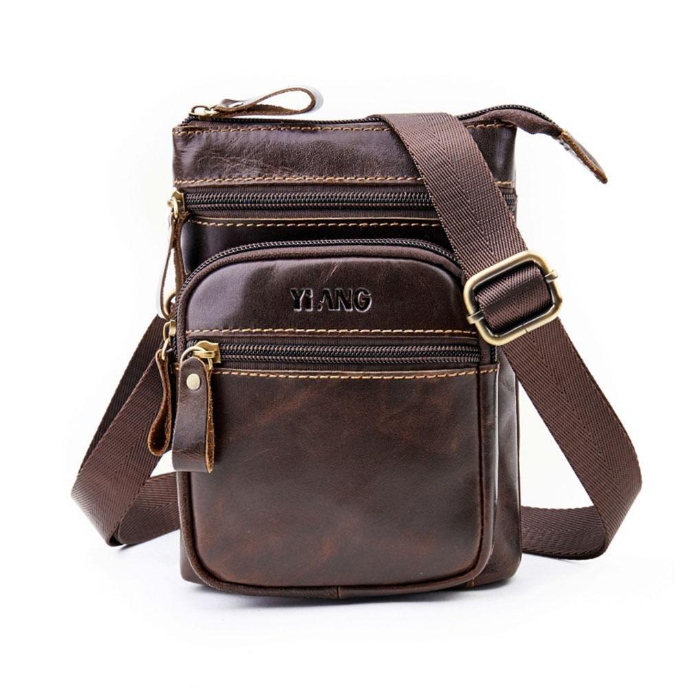 Genuine Leather Waist Bag,AOLVO Vertical Cellphone Holster Waist/Belt Backpack for Men,Men's Inclined Shoulder Bag