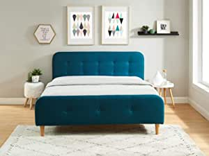 HOMIFAB Cama Adulto escandinavo en Tejido Azul Pato Acolchado, somier de Latte, 160 x 200 – Collection Mark