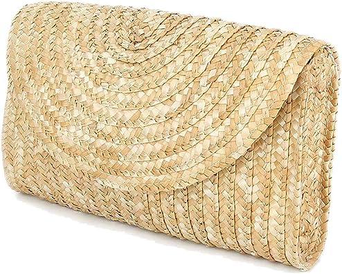 Cikuso Bolsos Clutch De Paja Para Mujer Bolso De Playa De Verano, Cartera Del Sobre De La Boda Color: Marron