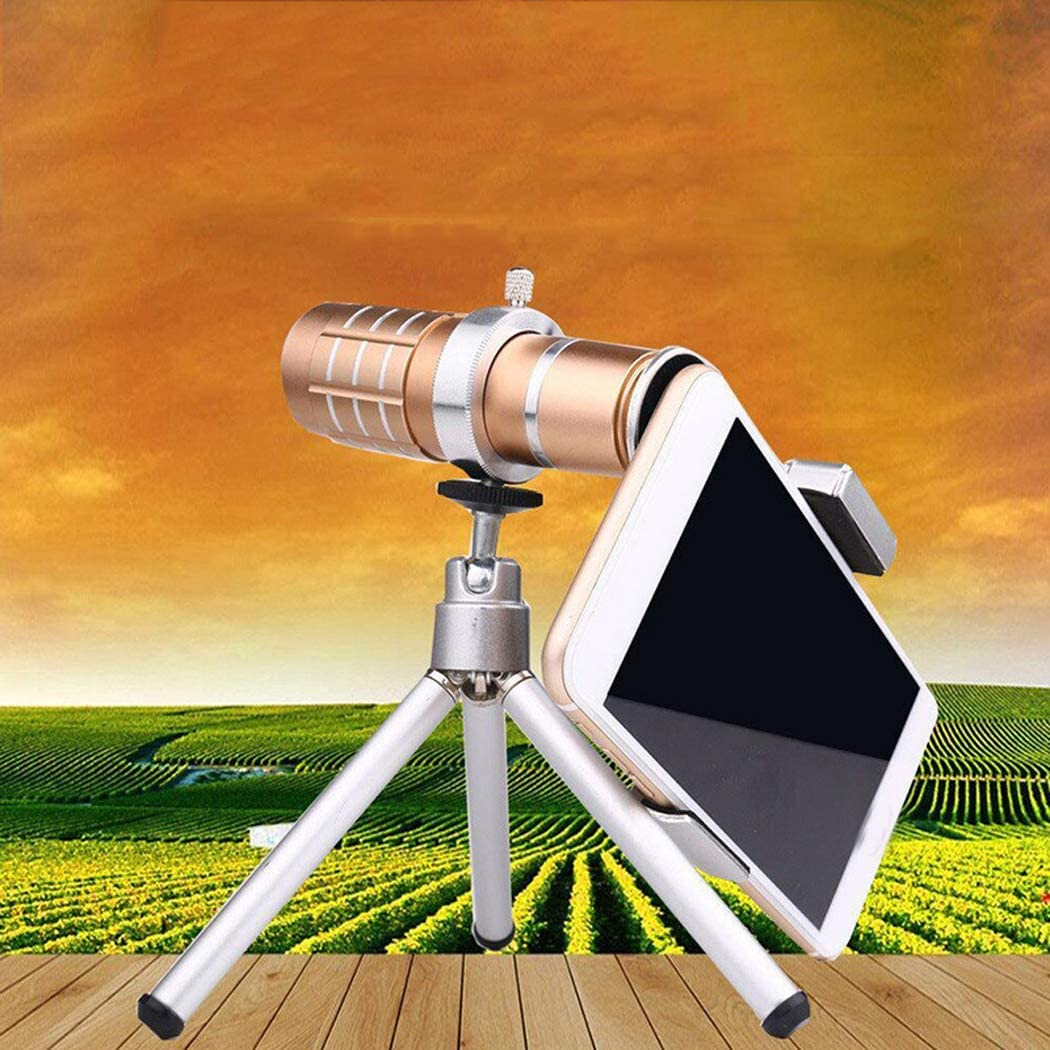 12X Aluminum Alloy Zoom Telephoto Lens with Tripod RAPLANC Phone Camera Lens Kit HD Smartphone Lens for Most Smartphone Monocular Telescope,Silver