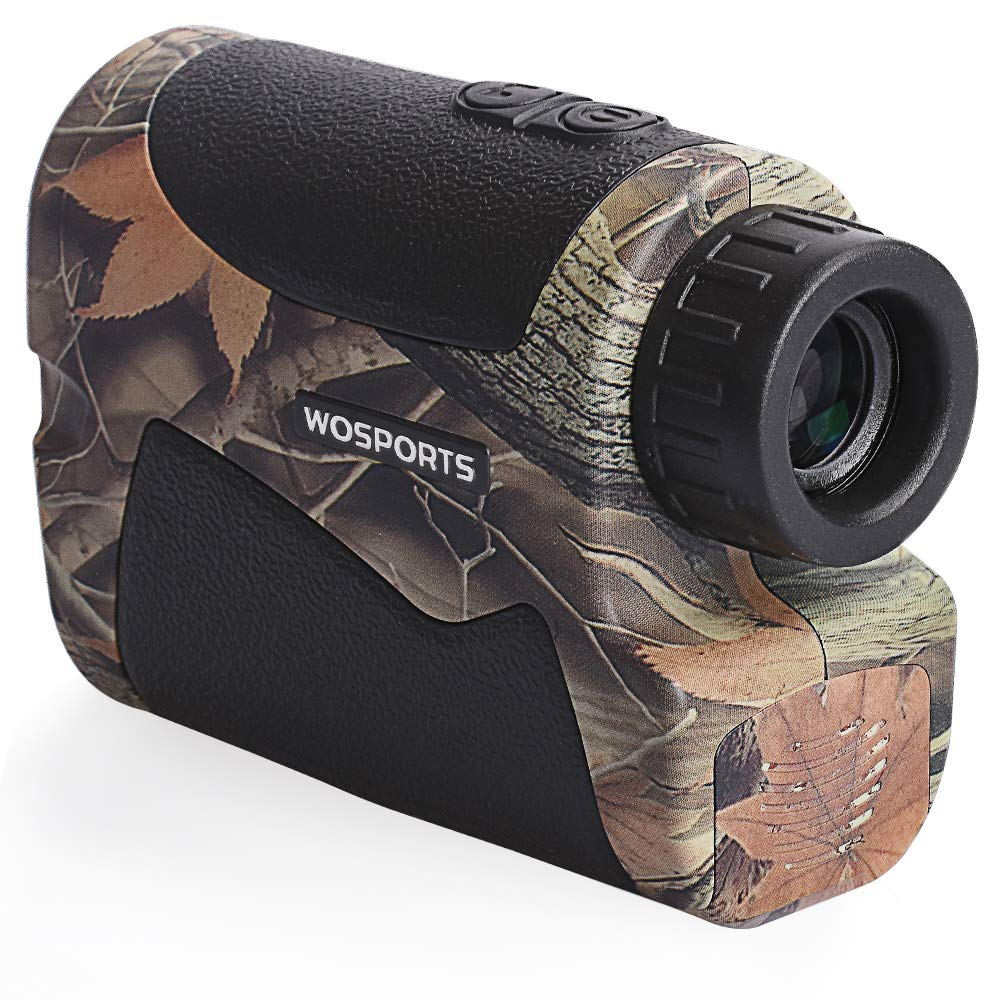 Wosports Range Finder for Hunting, Archery Rangefinder for Bow Hunting with Flagpole Lock - Ranging - Speed Function (Camo)
