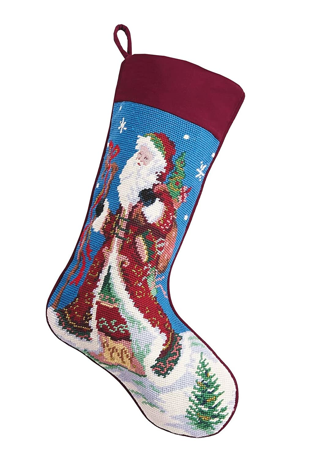Old World Style Santa Christmas Stocking