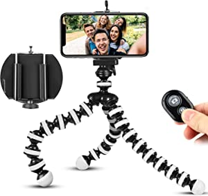 Phone Tripod, Portable Flexible Tripod Adjustable Cell Phone Tripod with Wireless Remote and Universal Clip Mini Tripod Stand Holder for iPhone 11 Pro XS MAX XR,Android Phone Samsung GoPro Camera