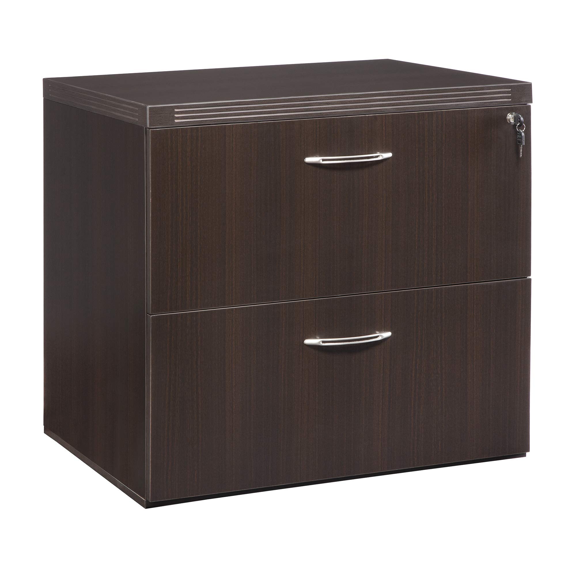 Mayline AFLF30LDC Aberdeen 30'' Freestanding Lateral File with 2 Drawers, Letter/Legal, Mocha Tf
