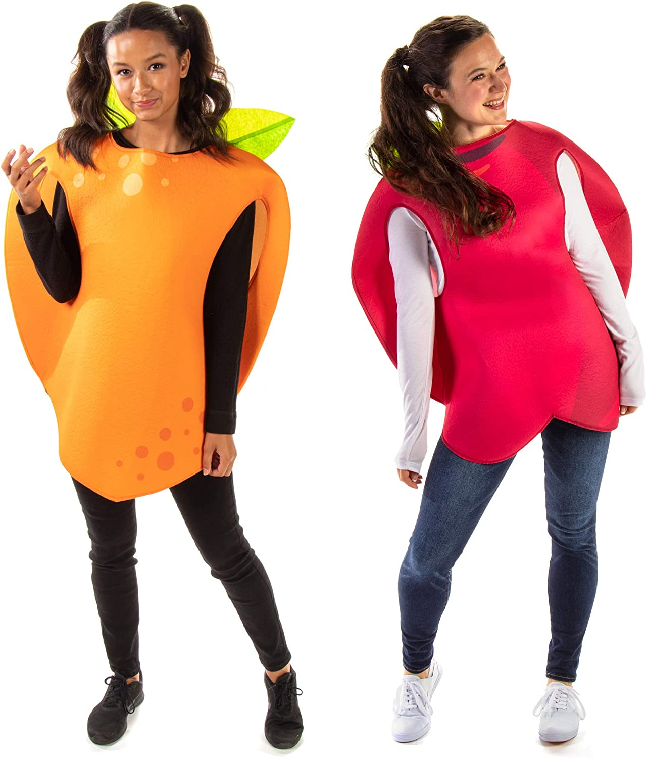 Apple & Orange Halloween Couples Costume - Adult Unisex Funny Fruit Food Outfits