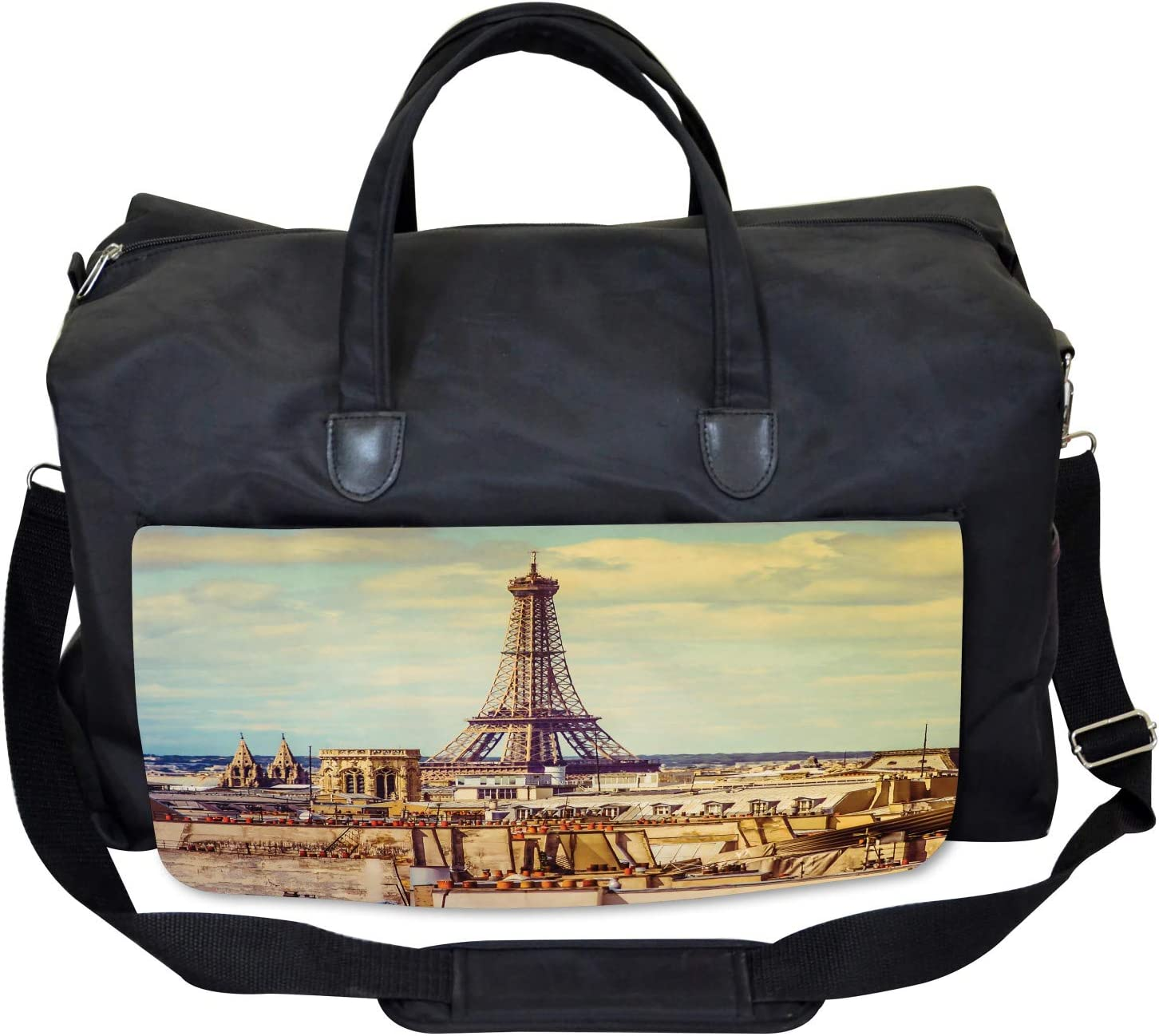 Ambesonne Eiffel Tower Gym Bag Paris Cityscape Large Weekender Carry-on