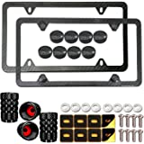 Aootf Carbon Fiber License Plate Frames- Black Aluminum Car Tag Holders for Women/Men, 2 Pack Slim Bracket with Mount Kit Fit