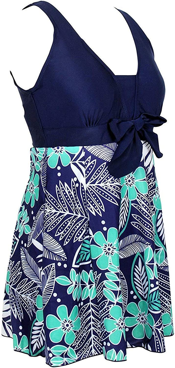 Plus Size One Piece for Women Ruched Retro Skirt Monokini Swimsuits