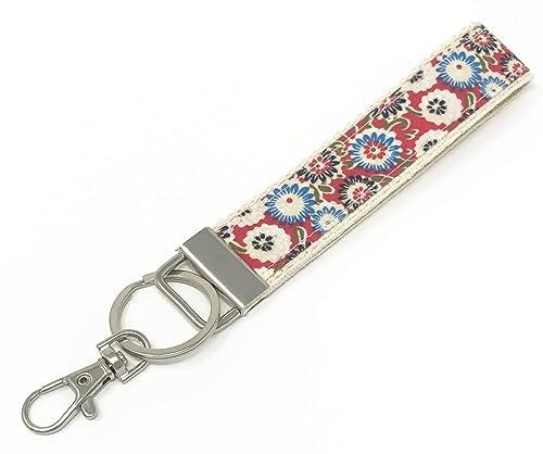 Amazon.com: Patrón floral de algodón cincha pulsera llavero ...