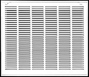 """32"""" X 26"""" Steel Return Air Filter Grille for 1"""" Filter - Removable Face/Door - HVAC Duct Cover - Flat Stamped Face -White [Outer Dimensions: 33.75w X 27.75h]"""