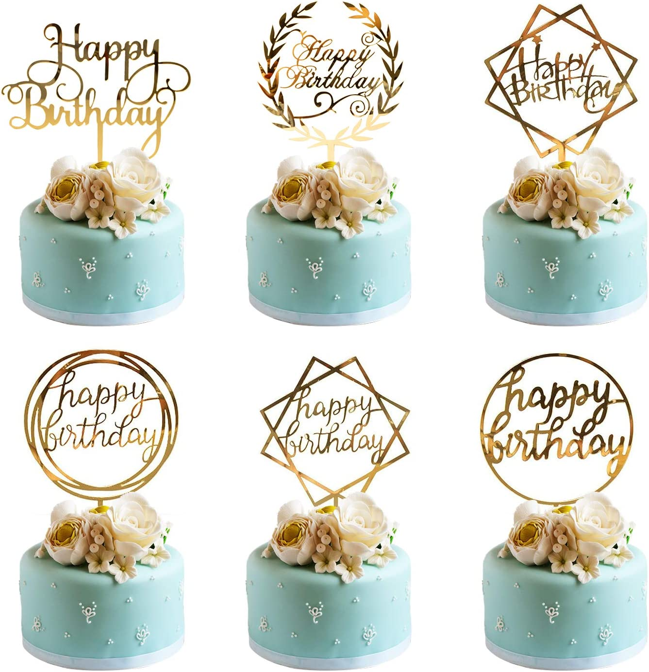Wondrous Whaline 6 Pack Happy Birthday Cake Topper Acrylic Cupcake Topper Funny Birthday Cards Online Alyptdamsfinfo