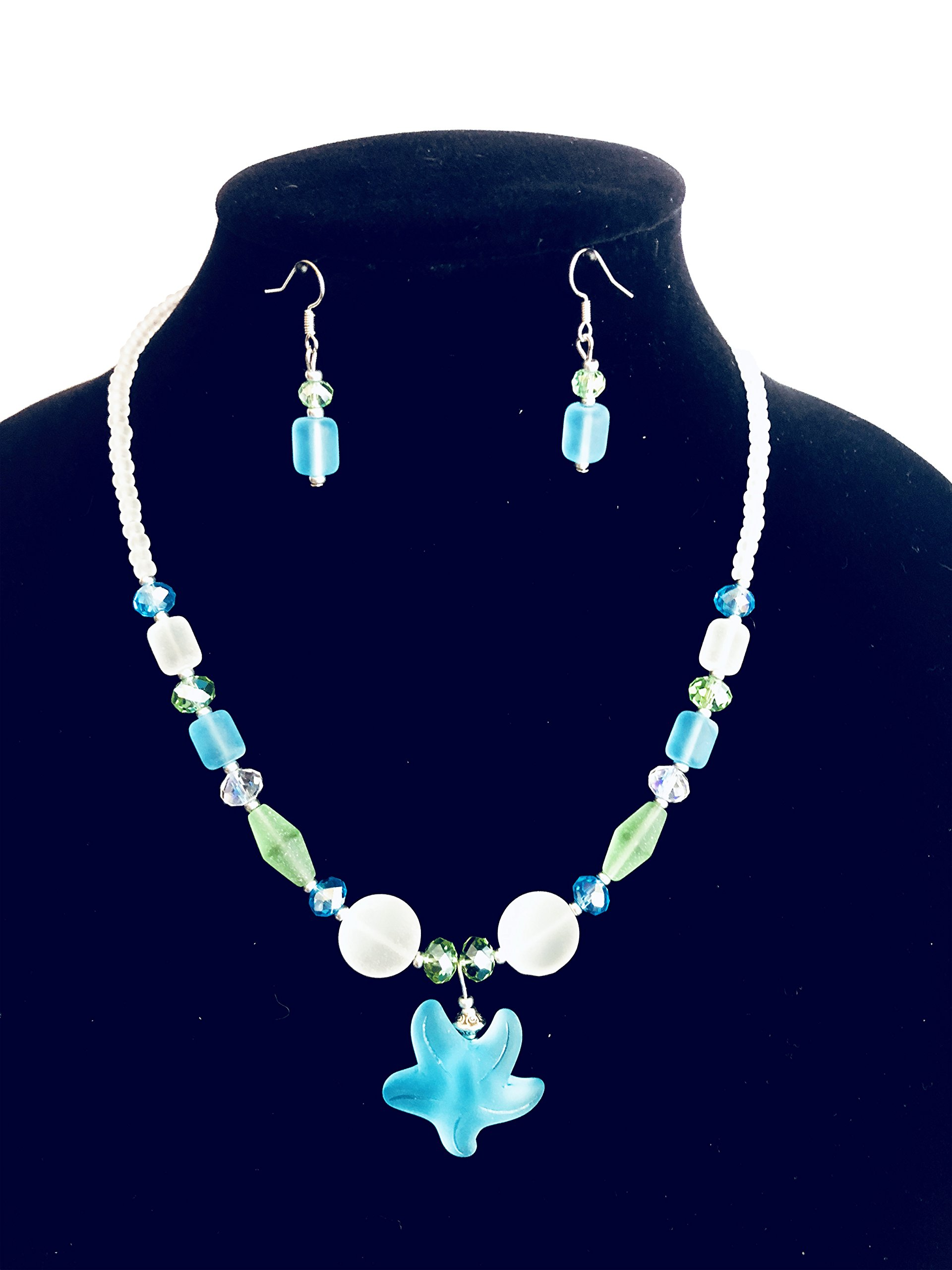 Scoby Hill Handcrafted Sea Glass Necklace & Earring Set (Aqua Marine Blue & Seafoam Green glass with Starfish Pendant)