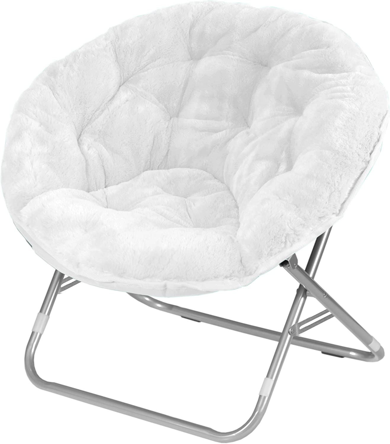 Urban Shop Faux Fur Saucer Chair, White