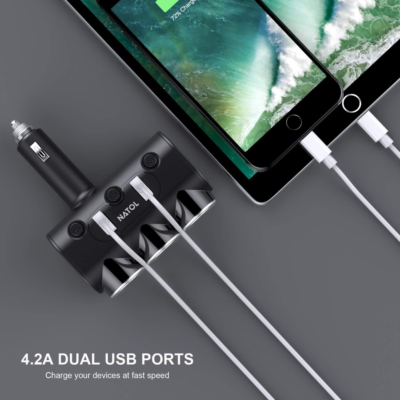 NATOL Cigarette Lighter Adapter, 12V/24V 3-Socket Car Charger Cigarette Lighter Splitter with 2 Smart USB Ports for iPhone, iPad, Samsung, GPS, Dashcam