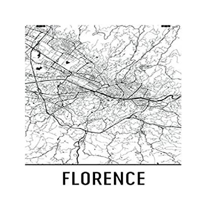 Map Of Italy Black And White.Amazon Com Florence Poster Florence Art Print Florence Wall Art