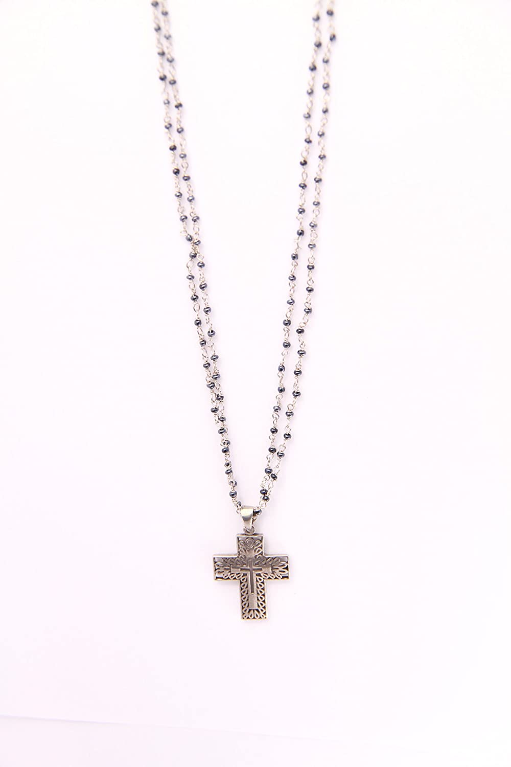 Fine Pewter with a Light Cross Necklace 16 Inch Long Hand Made Silver Rosary Onyx Necklace