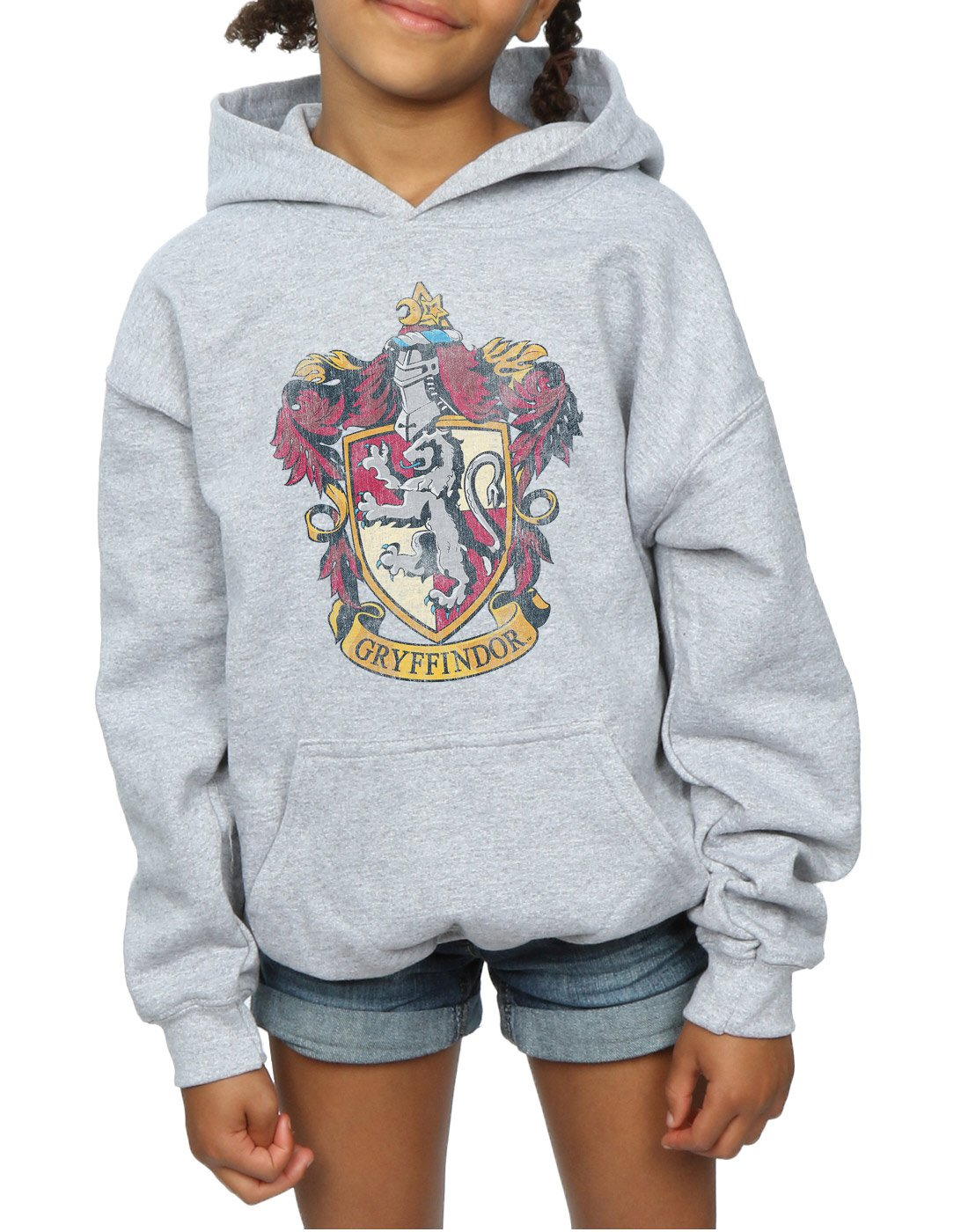HARRY POTTER Girls Gryffindor Distressed Crest Hoodie 9-11 Years Sport Grey by HARRY POTTER (Image #4)