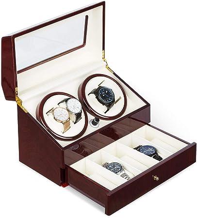 Klarstein Geneva - Estuche de Relojes, Caja para Relojes, para 4 Relojes automáticos, 4 Modos, Rotación hacia la Derecha o Izquierda, Cajón para Relojes, En Madera: Amazon.es: Hogar