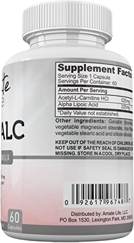 ALA ALC High Potency Formula- Best Alpha Lipoic Acid and Acetyl-L-Carnitine HCl Dietary Supplement- Antioxidant Support- Energy Boost- for Men and Women by Amate Life 60 Capsules