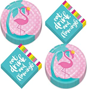 Pink and Teal Flamingo Paper Dessert Plates &
