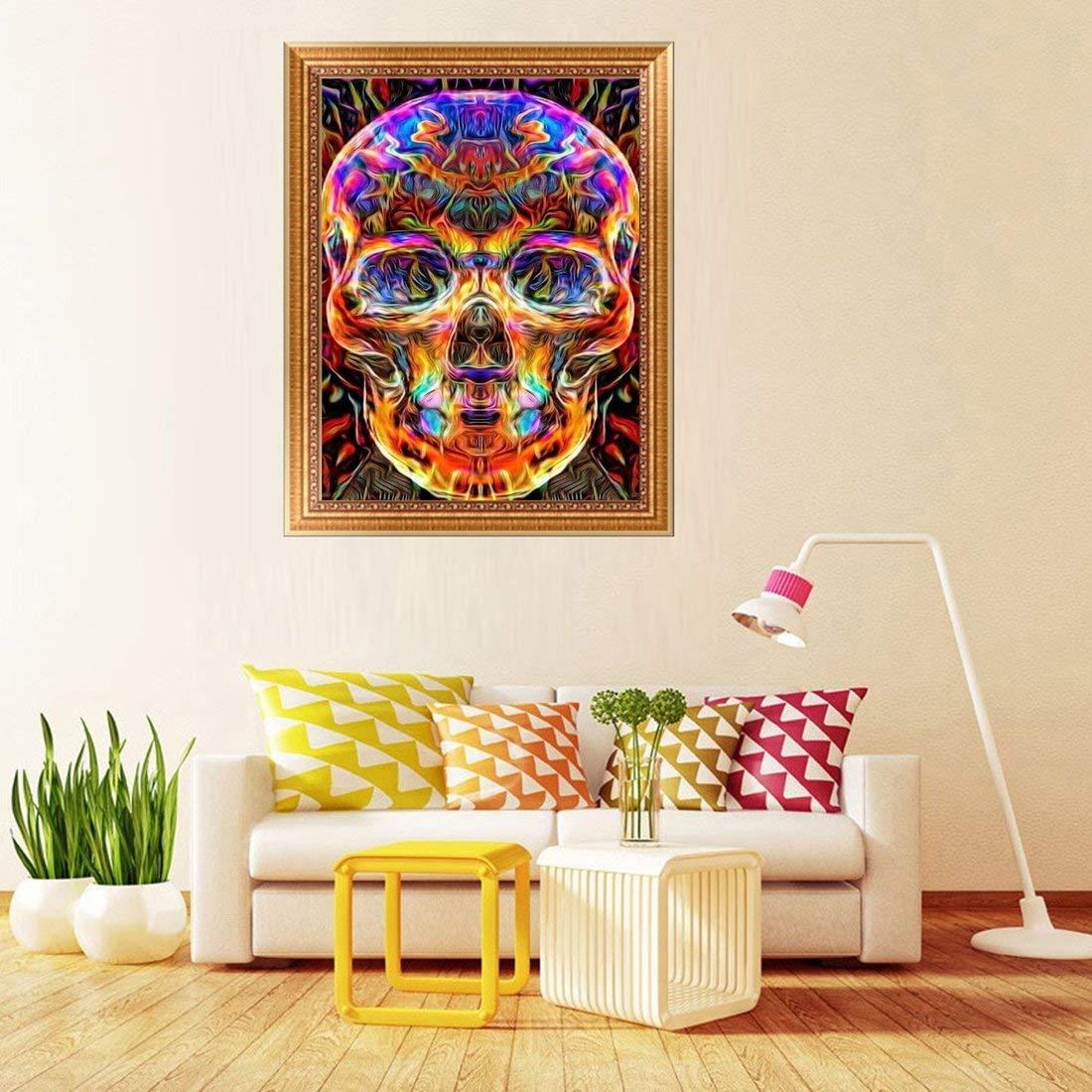DIY 5D Diamant Gem/älde nach Zahlen Kit Full Diamond Skull Strass Stickerei Kreuzstich Kunst Handwerk f/ür Leinwand Wand Dekoration