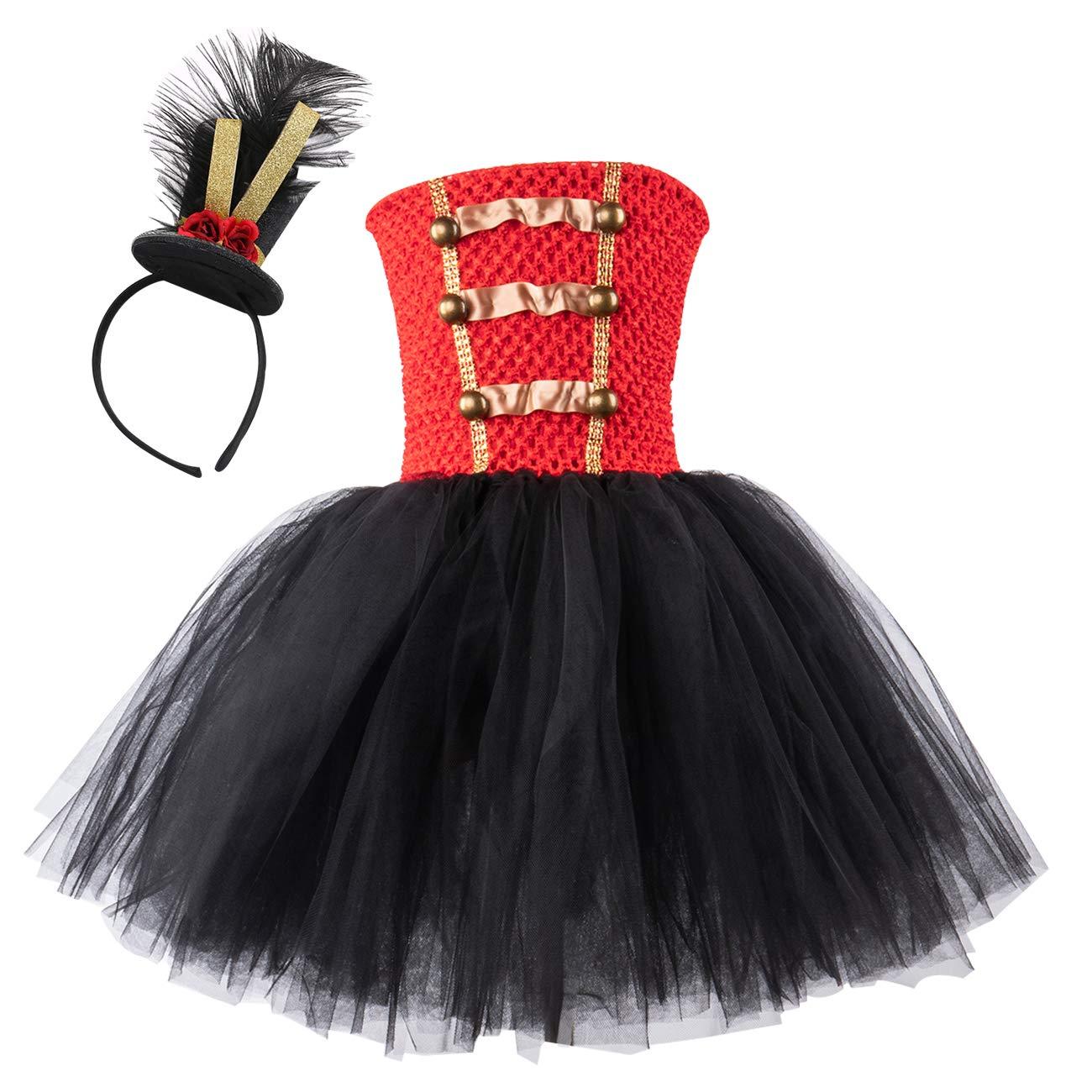 AQTOPS Girls Circus Nutcracker Costumes Drum Majorette Tutu Dress Size 4 Red and Black