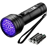 LE UV Torch 12 LED 395nm Ultra Violet Flashlight Black Light Detector for Pet Urine Stain Bed Bug on Clothes Carpet or Rugs 3 AAA Batteries Included