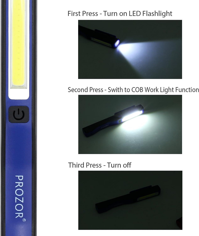 Kamtop Torche Electrique Rechargeable Magn/étique LED COB Lampe de Poche Lumi/ère de Travail Lampe dInspection avec C/âble d/'Alimentation USB Lampe dInspection Super Brillante Rouge