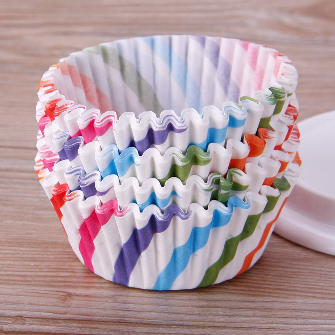 300 Pcs Paper Cupcake Holder Liners Wrappers Baking Cups Standard Disposable Baking Supplies (300-Count 6 Style Colorful Stripe)