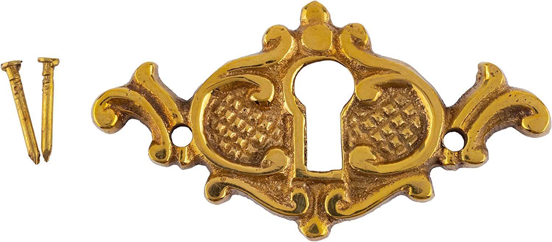 Cast Brass Victorian Style Keyhole Cover for Cabinet Doors, Dresser Drawers, Desk Antique Furniture Hardware | B-0206