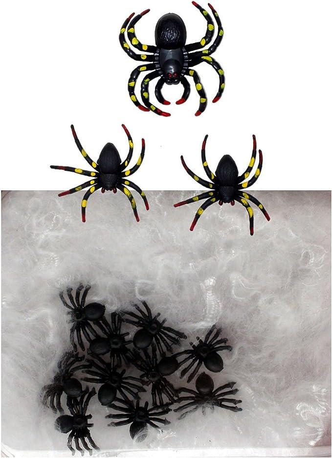 1x40 Spinnen Halloween Party Deko Spielzeug Scherzartikel ABAV Netz Spider