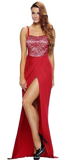 e3c335f6cfc La Vogue Femme Robe Rouge Bretelles Dentelle Longue Fendue Col Bas Cocktail  Size1