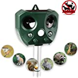 JinZiYi Ultrasonic Animal Repeller,Solar Powered Waterproof Outdoor Animal Repeller with Infrared Motion Detector,Against Pests, Deer, Skunk, Opossum, Cats, Squirrels, marmot Very Effective