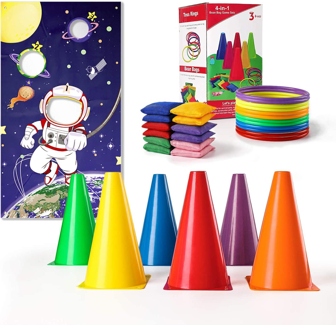 NONZERS Carnival Games Set, 4 in 1 Bean Bags Ring Toss Game with 12 Bean Bags, 12 Ring Toss, 6 Plastic Cones and One Toss Banner for Kids Birthday Carnival Party Outdoor Indoor Games Supplies