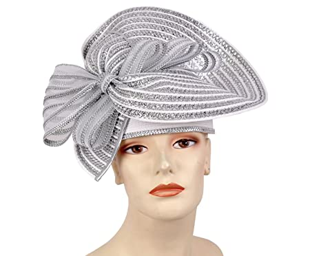 Ms Divine Women s Straw Derby Church Hats Dress Formal Hats  9512 (White  Silver fe5555a8ae4