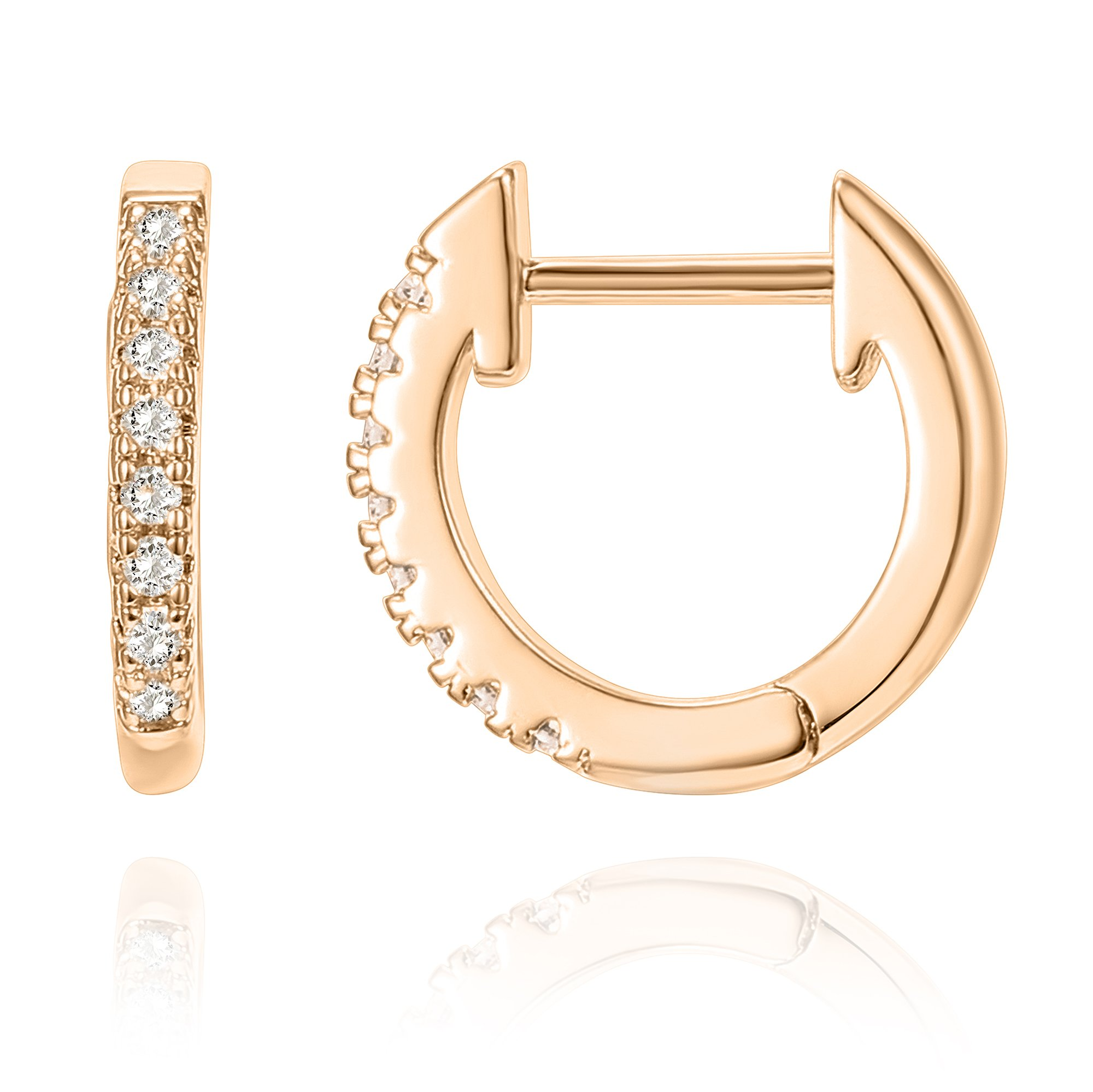 PAVOI 14K Rose Gold Plated Sterling Silver Post Cubic Zirconia Cuff Earring Huggie Stud