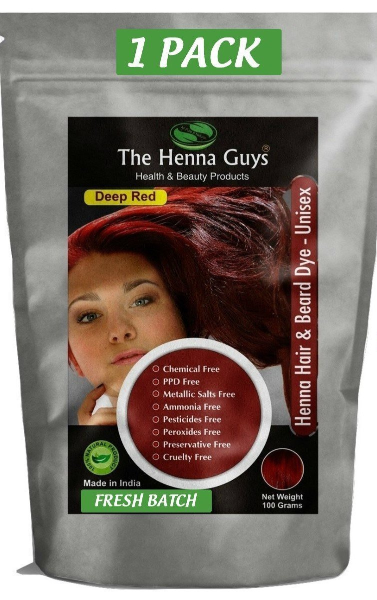 Amazon Com The Henna Guys Hair And Beard Dye Deep Red 1 Pack