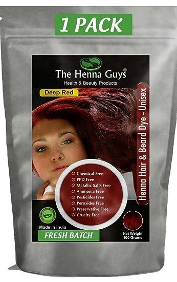 Amazon Com The Henna Guys Hair And Beard Dye Deep Red 1 Pack