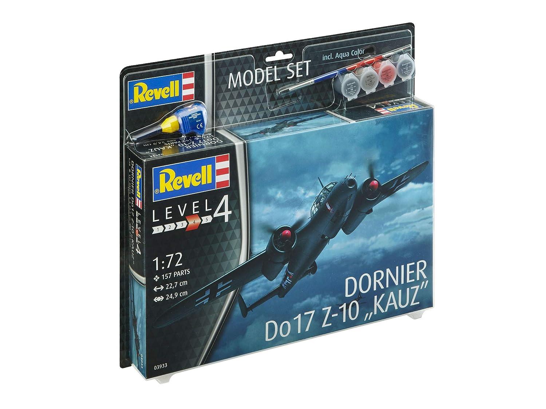 f/ácil Pegar y para pintarlas en Kit Modelo con Base Accesorios Revell- Set Dornier Do17 Z-10 Kauz Escala 1: 72 63933 22,7 cm de Largo
