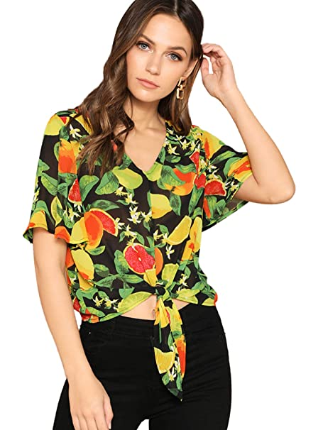 fa2b8f9b22 SheIn Women's V Neck Floral Print Tie Knot Ruffle Short Sleeve Blouse Crop  Top X-
