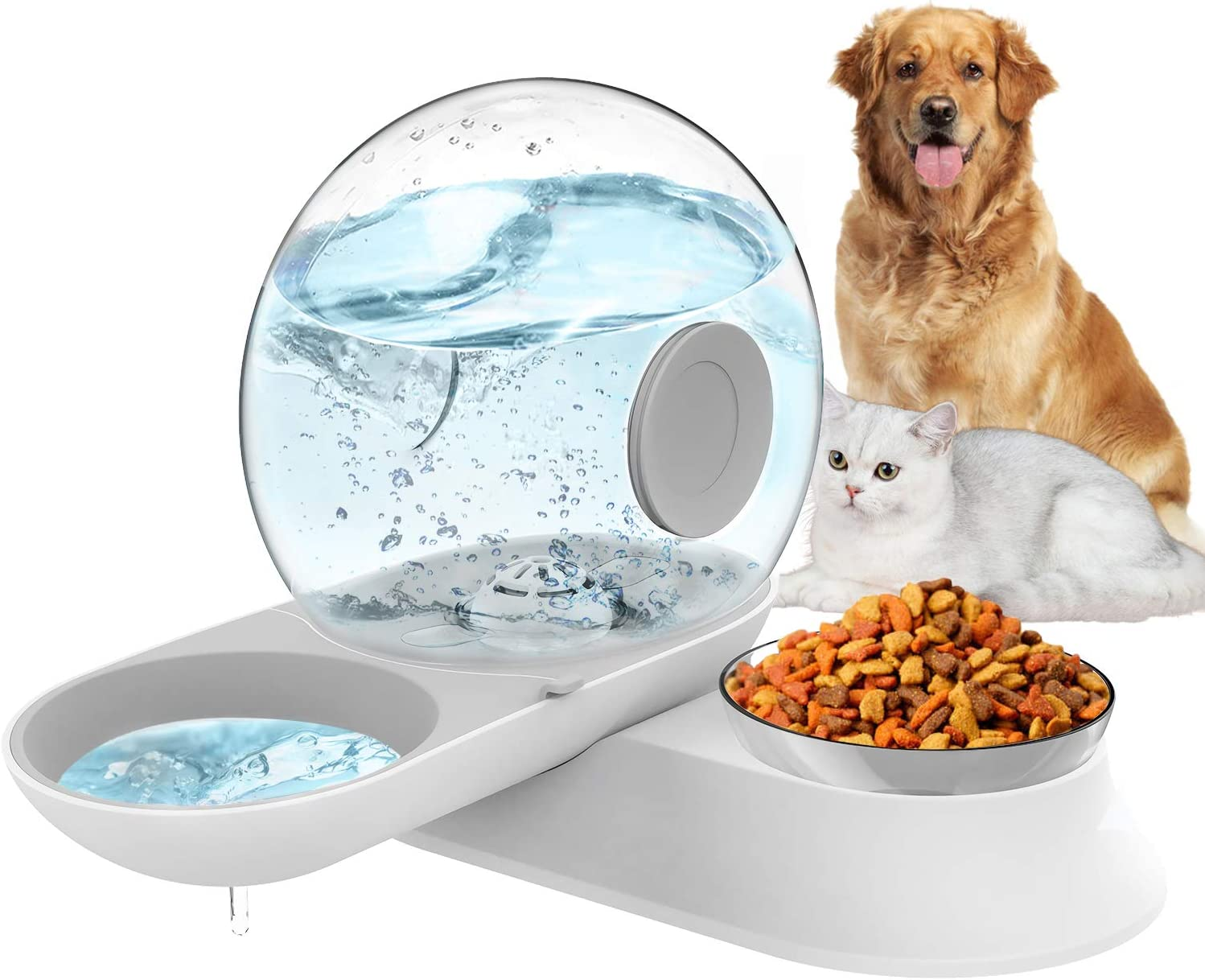 LeYoMiao 2 in 1 Pet Automatic Water Dispenser and Food Bowl Set, Cat Dog Feeder Bowl Gravity Waterer, No-Spill Snail Shape 2.8L Water Foutains for Cats & Small Dogs (Gray)
