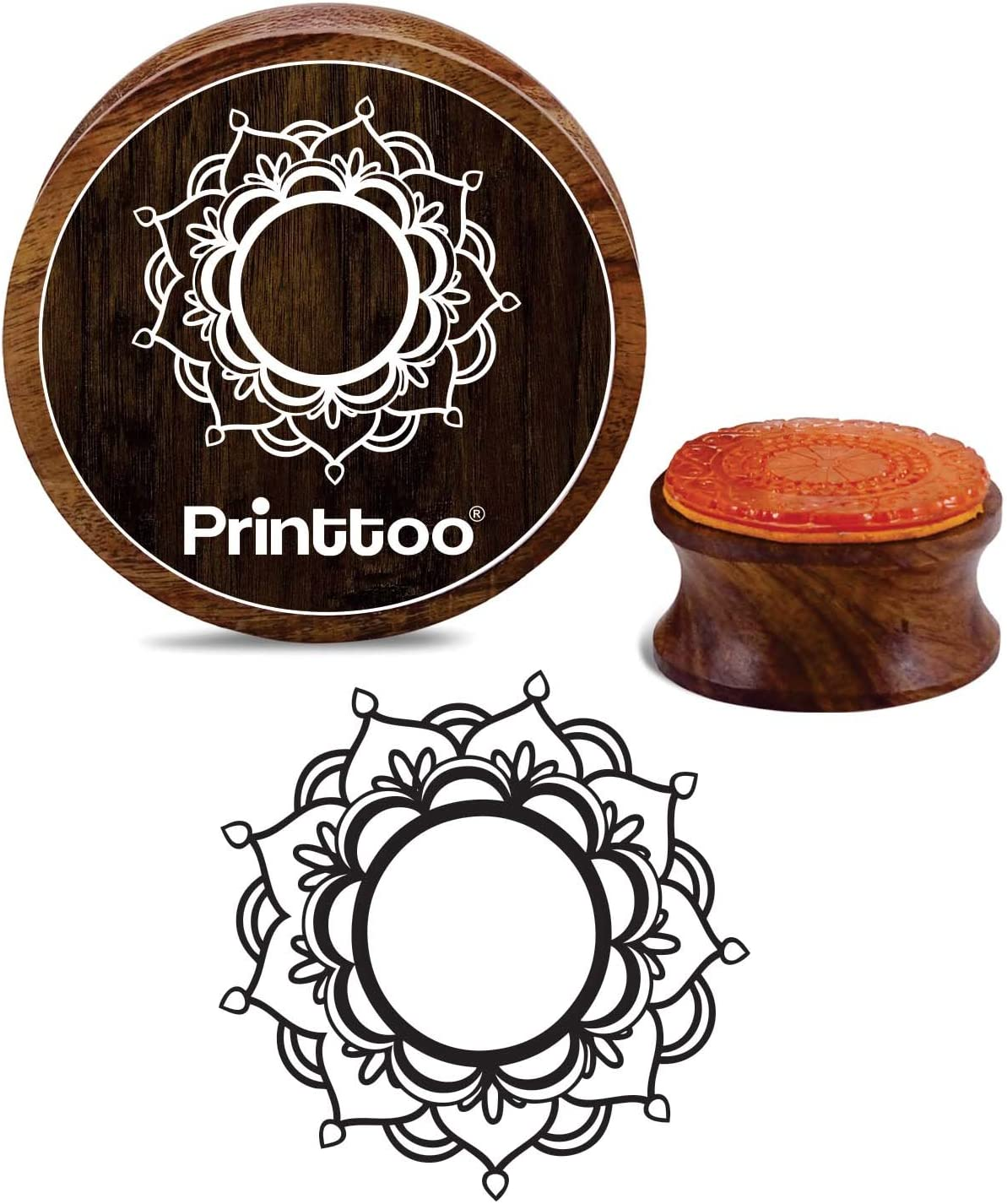 Printtoo Card Making Wooden Rubber Stamp Round Floral Mandala Pattern Scrap-Booking Stamps-3 Inch