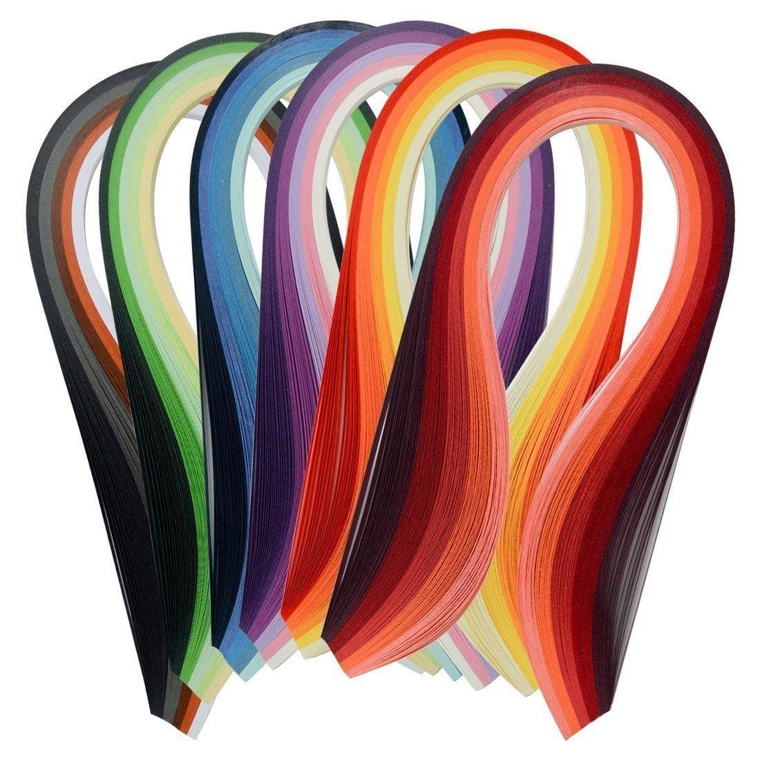 ペーパークイリングセット600ストリップマルチカラー39 cm長さ/ 3 mm幅利用可能 B06WWB3BGV