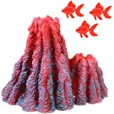Uotyle Aquarium Volcano Decorations Resin Ornament Red for Fish Tank with 3 Fake Fish Decoration