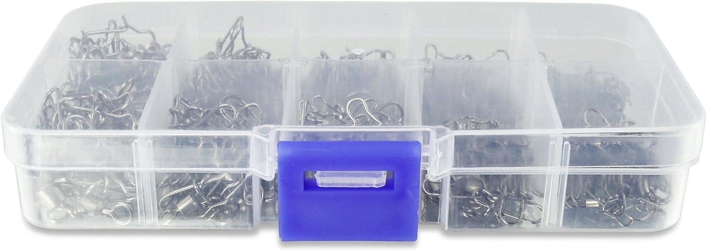 hochwertige Angelwirbel in Box 210 St/ück Frambay Premium Wirbel Set optimales Angelzubeh/ör Gr/ö/ßen 2//4//5//6//8