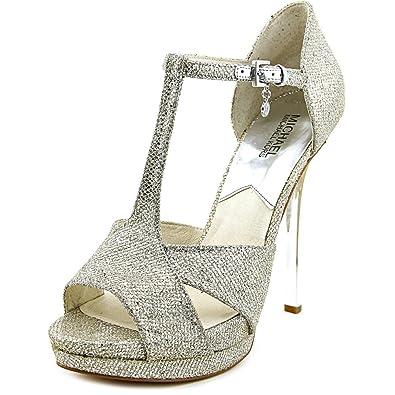 fcc536b7ab2 MICHAEL Michael Kors Women s Diana T - Strap Silver Glitter ...