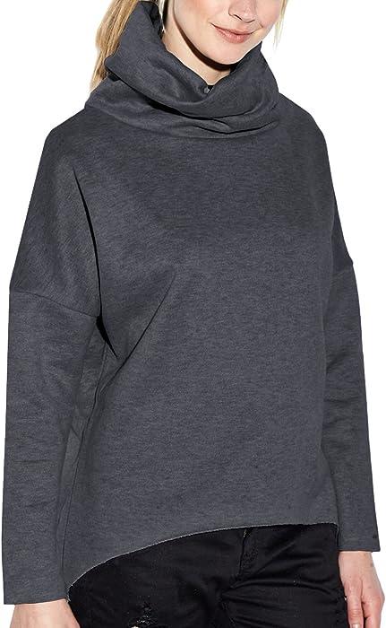 c477448b887 ZANZEA Women s Casual Cowl Neck Sweater Batwing Sleeve Loose Irregualr Sweatshirt  Shirt Pullover Winter Dark Grey
