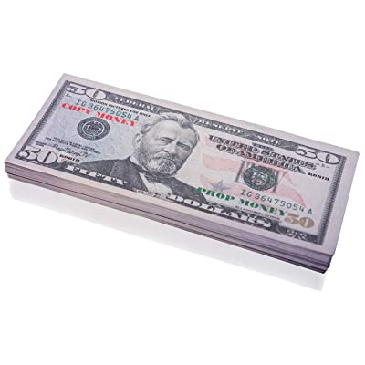 DenYorkStore 50 Full Print Prop Money Stack Copy Money: Toys & Games